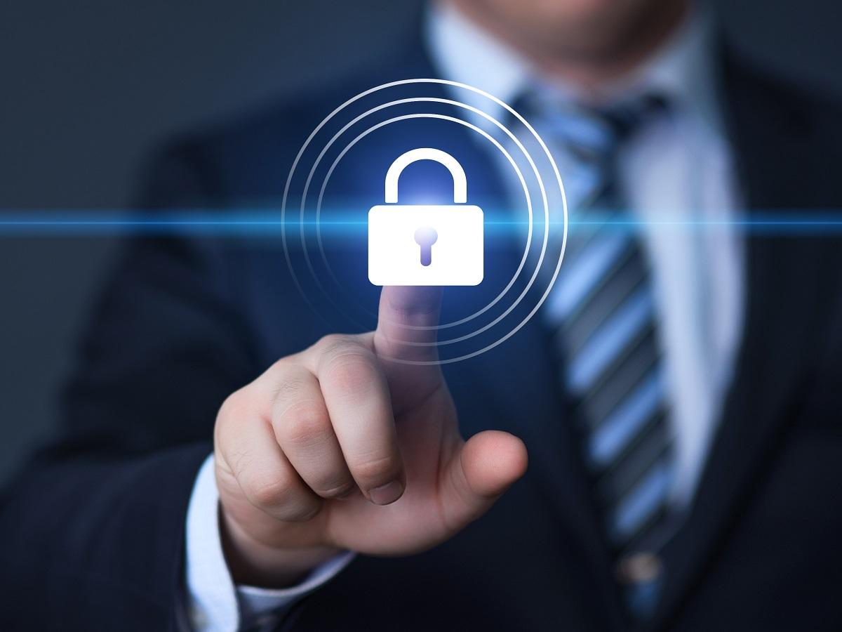 Man pressing the digital lock icon