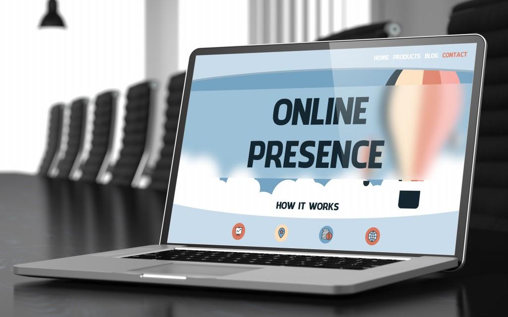 Online presence presentation on a laptop