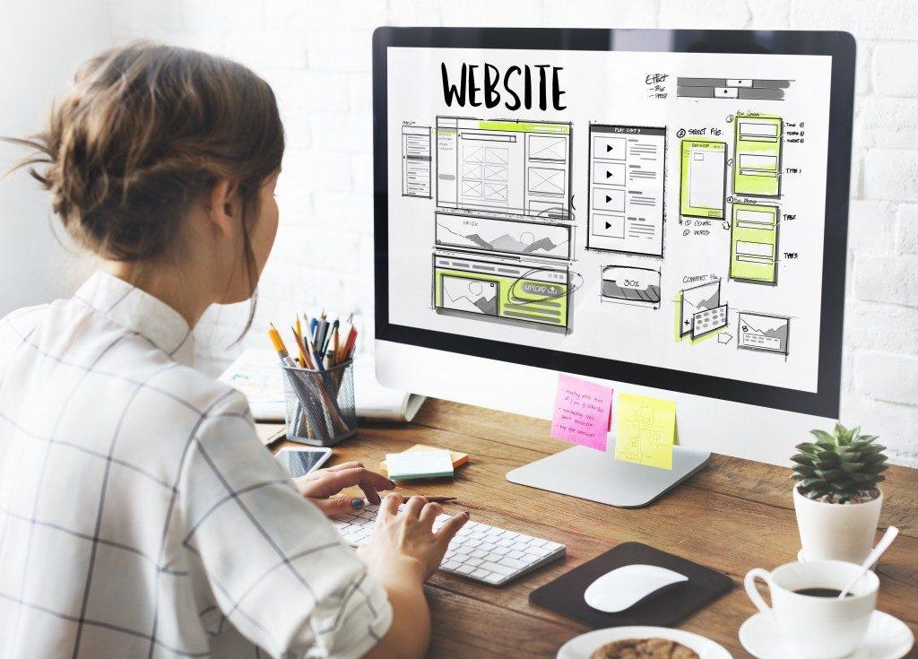 Web designer working on website layout