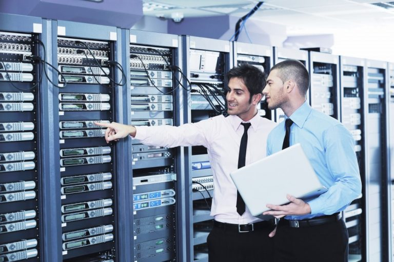two engineers in server room