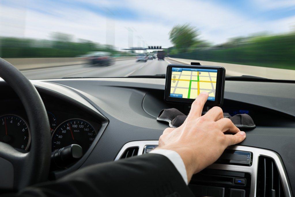 GPS navigation system in a car