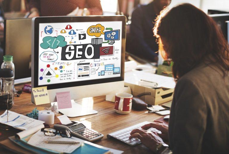 SEO concept on monitor of desktop