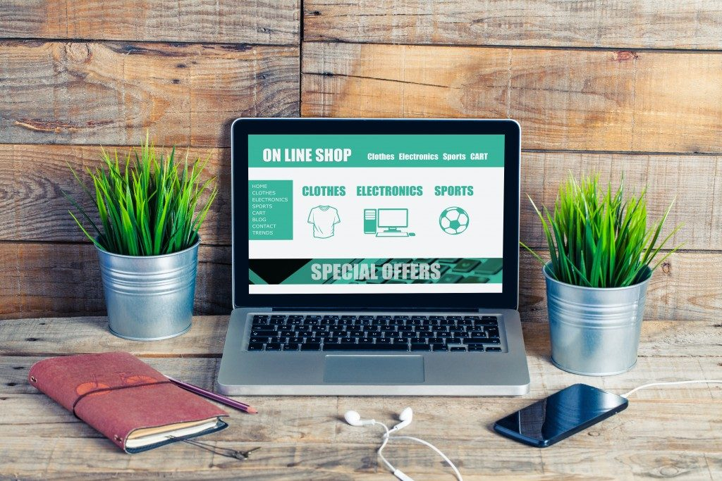 Online shop website template design on a laptop