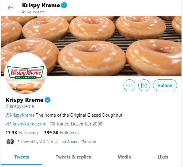 Krispy kreme twitter profile