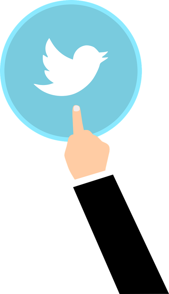 Finger touching twitter logo