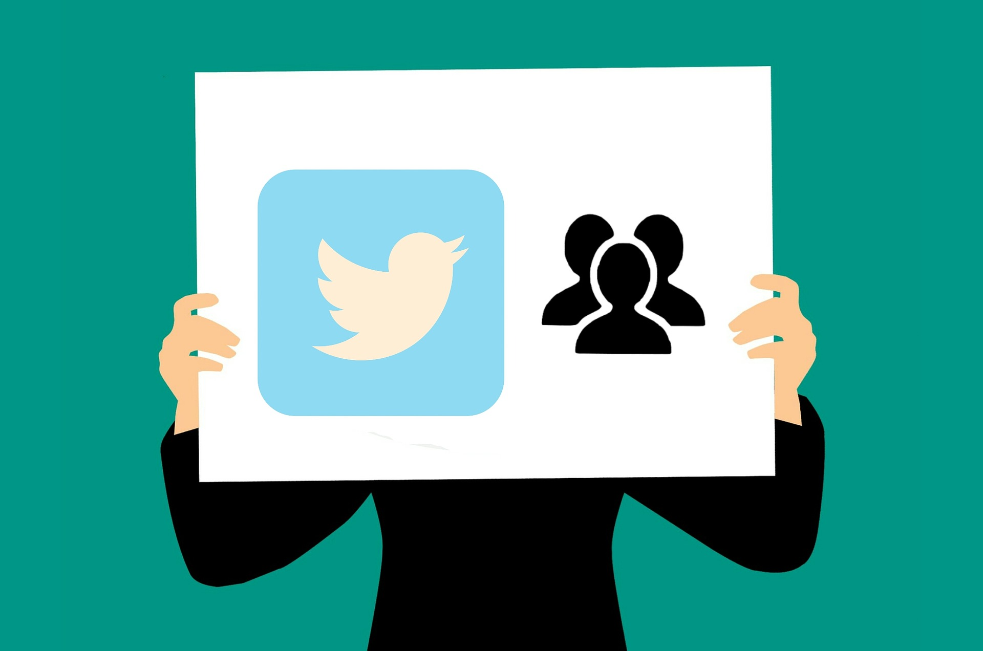 Man holding twitter sign