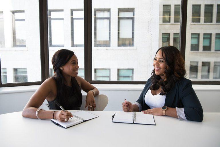 Two professional women talking