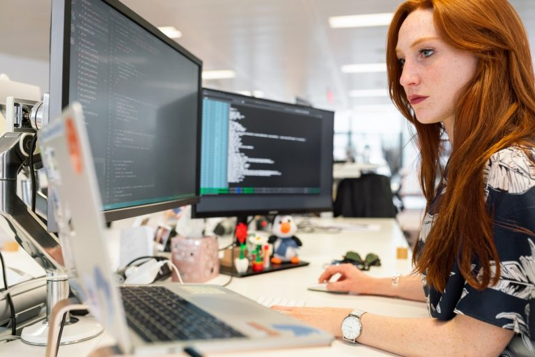 woman working with codes