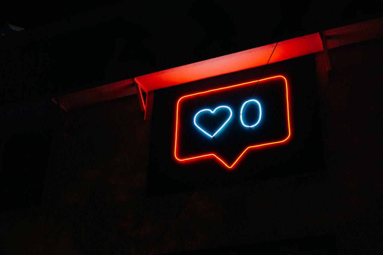 instagram heart notification neon sign
